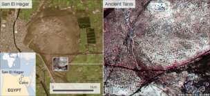 The infrared image on the right reveals the ancient city streets of Tanis near modern-day San El Hagar