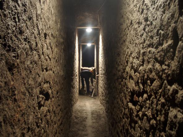 Now excavated, an ancient Roman chamber once held tons of decayed garbage and human waste