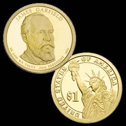The 2011 James A. Garfield Presidential dollar was the last Presidential dollar struck for circulation at the Denver and Philadelphia Mints before Treasury Secretary Timothy F. Geithner suspended dollar coin production Dec. 13. All future circulation-quality dollars struck will be reserved for numismatic sales only. Image courtesy of United State Mint.