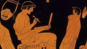 Email from the past? Not an ancient Greek laptop, but a writing tablet on a vase from 470 BC