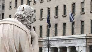 """""""A martyr to moral inquiry"""": Statue of Socrates outside the Bank of Greece in Athens"""