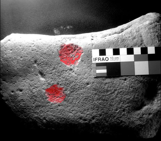 This small stone turned up in an excavation of a Medieval field boundary near Wrexham. The Caer Alyn stone is unusual because both cupmarks have been pecked rather than gouged. Probably Bronze Age, if not earlier, it is thought this is a fragment of a much larger stone or boulder with more cupmarks.