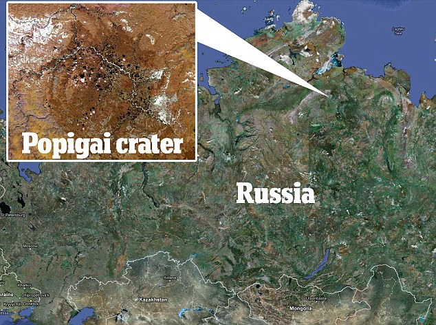 In the money: An aerial view of the 35-mile-wide Popigai Astroblem crater in eastern Siberia which contains 'trillions of carats of diamonds'