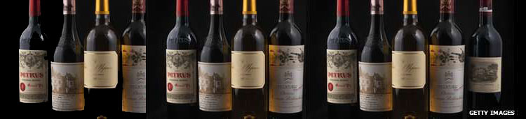 Genuine bottles of fine wine such as Chateau Lafite (far right) are much prized in China, but many bottles are fakes