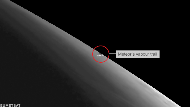 The meteor glimpsed from a satellite