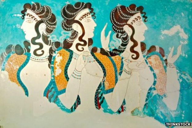 Frescos at the palace of Knossos in Crete where the Linear B script was found