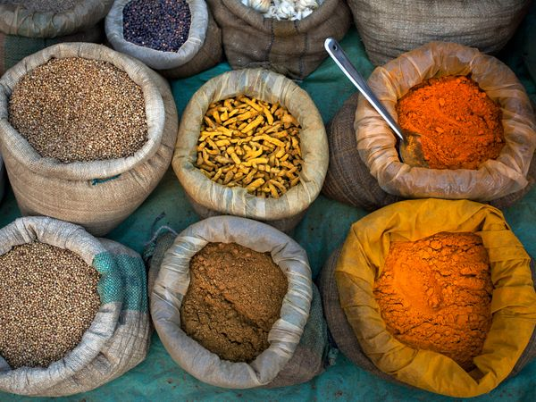 Scientists say prehistoric Europeans used spices like the ones being sold in this market in India. Photograph by Partha Pal, Getty Images.