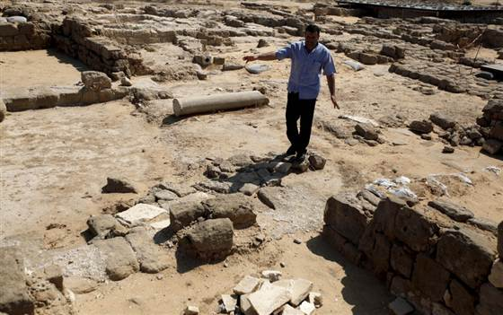 A man walks through the remains of St. Hilarion's Monastery in the Jabaliya refugee camp.