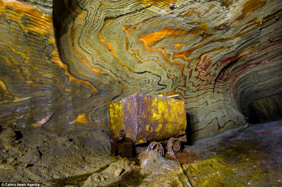 Jaw dropping acid: The psychadelic walls inside the abandoned salt mine in Yekaterinburg, Russia more than 650ft under the surface