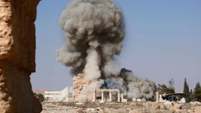 Syria's director of antiquities said the Temple of Baalshamin was blown up on Sunday