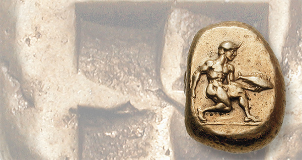 This Cyzicus electrum stater of circa 500 to 450 B.C. bears an energetic design showing a young man advancing, holding a tunny and a curved knife. Images courtesy of Classical Numismatic Group.