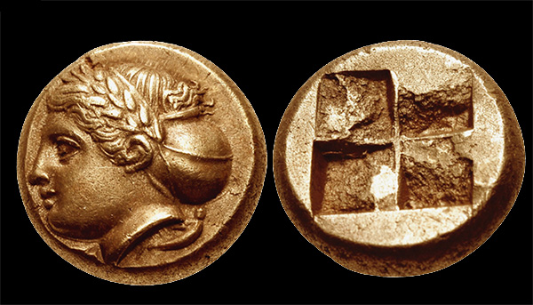 The wreathed head of a young woman with her hair gathered in a cloth saccus graces the obverse of this electrum hecte struck at Phocaea between about 387 and 326 B.C. Images courtesy of Classical Numismatic Group.