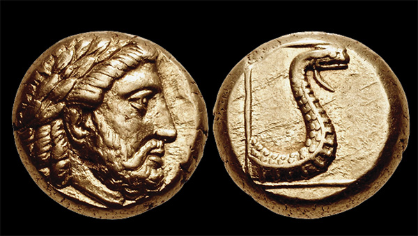 The head of the Greek god Zeus is paired with a snack shown in a striking pose on this electrum hecte issued at Mytilene sometime between about 387 and 326 B.C. Images courtesy of Classical Numismatic Group.