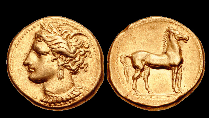 One of the most familiar of all ancient coins is the electrum stater of Carthage, issued circa 320 to 270 B.C. It bears the head of the goddess Tanit and a standing horse. Images courtesy of Classical Numismatic Group.