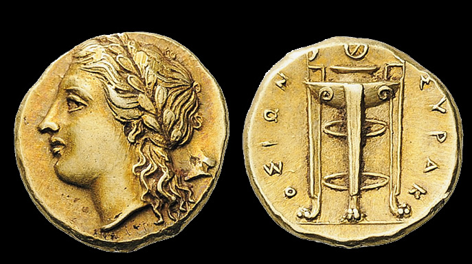 King Agathocies, who ruled Syracuse from 317 to 289 B.C., issued this electrum coin, which seemingly was valued at 50 or 25 litral. It shows the god Apollo and a tripod. Images courtesy of Classical Numismatic Group.