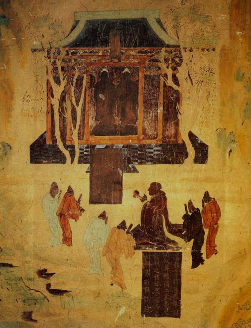 A cave in Mogao shows a Western Han Dynasty cave mural of Emperor Wu, the greatest Han monarch during a prosperous era, worshiping Buddhas. His grandson Liu He was not so illustrious but was given a grand burial anyway. (Wikimedia Commons)