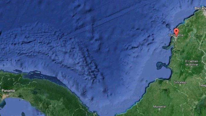 The San Jose was reportedly found miles off of Colombia's Caribbean coast, near Cartagena (marked). Google Maps