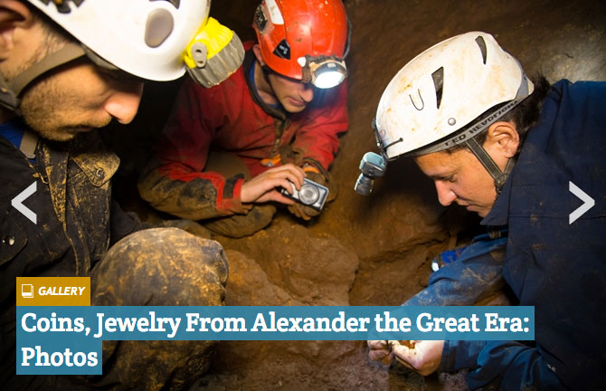 A rare cache of jewerly and silver coins, minted during from the reign of Alexander the Great, has been discovered in a stalactite filled cave in northern Israel. Alexander The Great-Era Treasure Found In Israeli Cave. SHMUEL MAGAL/ISRAEL ANTIQUITIES AUTHORITY