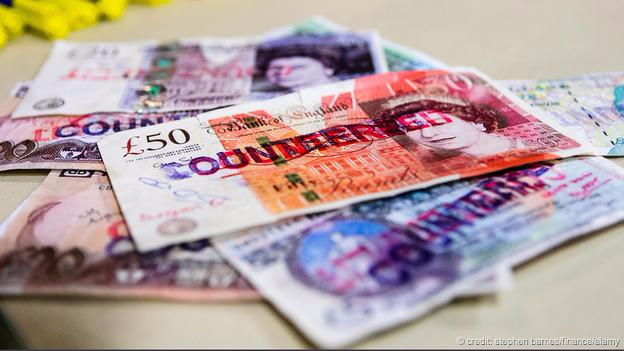A pile of counterfeit Bank of England and Bank of Ireland notes (Credit: Stephen Barnes/Finance/Alamy)