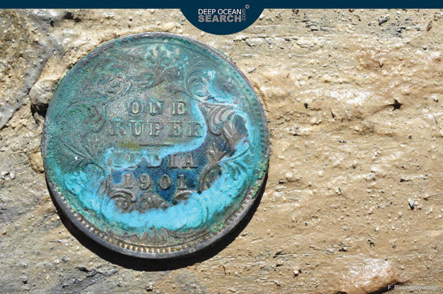 (Image above: Sunken treasure included this silver rupee. Image by: DeepOpenSearch.com   F. Bassemayousse)