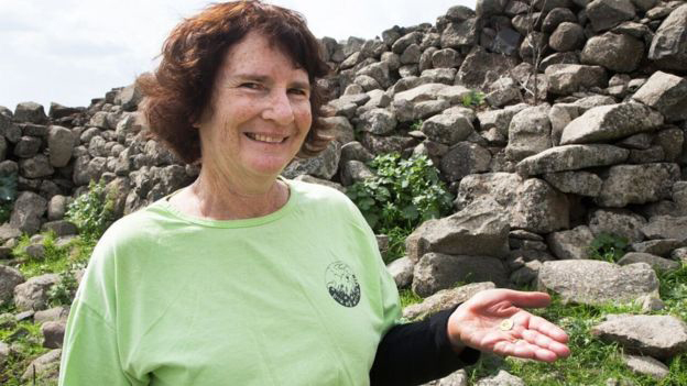 Laurie Rimon found the coin during a hike in the eastern Galilee. (Image Coutesy: Israel Antiquities Authority Image caption)