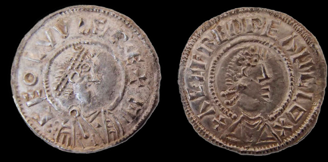 These are two coins from the ninth century, part of a Viking hoard found by a prospector in Watlington. Note the coin on the left bears Ceolwulf's name (CEOLVVLF), and the one on the right bears Alfred's (AELFRED) Image courtesy - Portable Antiquties Scheme
