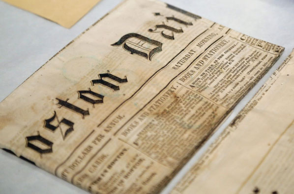 Newspapers found in the time capsule. (Brian Snyder/Reuters)