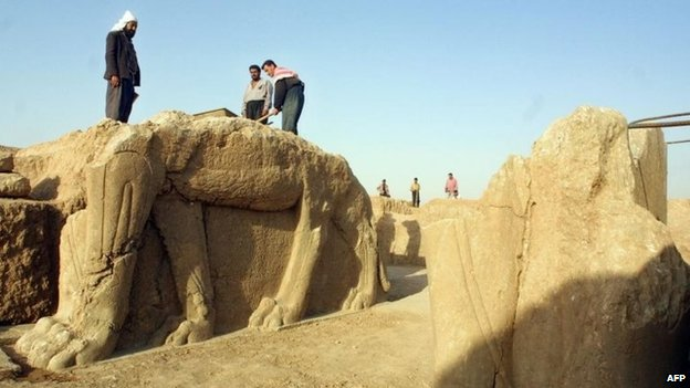 Nimrud (pictured) lies just south-east of Mosul, which IS controls