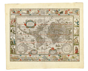 A 1638 map by cartographer Willem Janszoon Blaeu in the collection of the Bostom Public Library was the model for the Mint of Poland's new coin. Map reproduction courtesy of the Norman B. Leventhal Map Center at the Bostom Public Library.