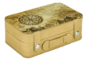 The 2015 Seven Wonders of the World siver $7 coin is packaged in a case with an appropriate design resembling a suitcase.