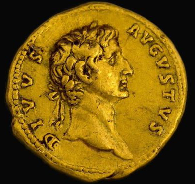 "The piece is part of a series of ""nostalgic coins"" dedicated to previous Roman emperors (Image Coutesy: Israel Antiquities Authority Image caption)"