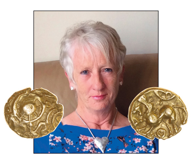 Angela Stone and her Tadley Wheel gold quarter stater, ABC 806.