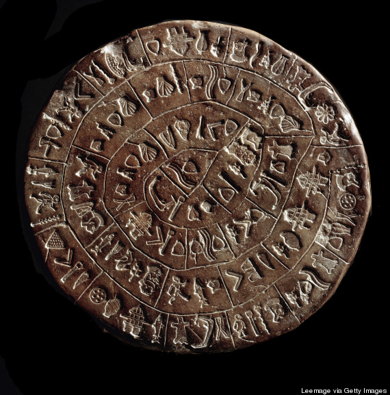 The front of the Phaistos disk, which is 16 centimeters in diameter.