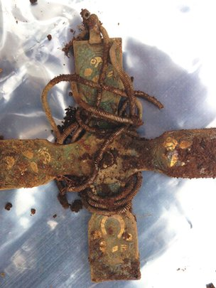 Among the objects within the hoard is an early Christian cross thought to date from the 9th or 10th century