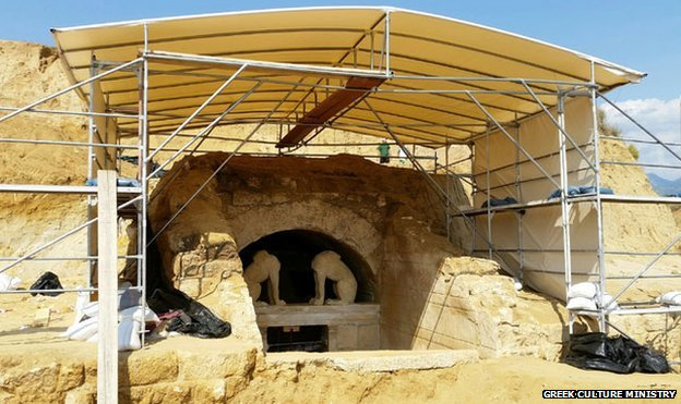Two sphinxes guard the entrance to the tomb at Amphipolis