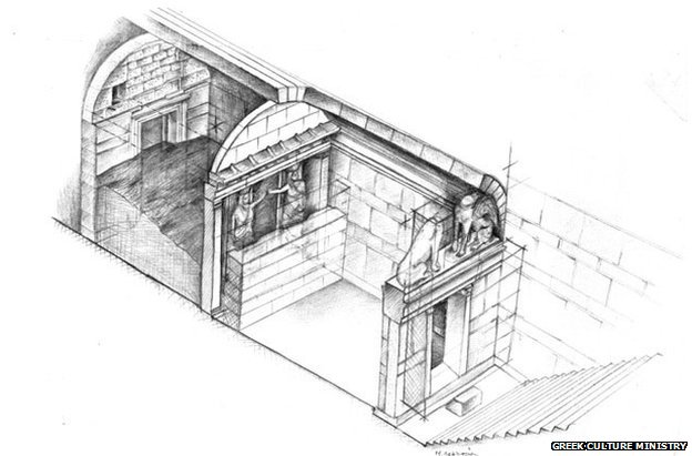 A sketch of the tomb shows the two sphinxes at the front and the two caryatids guarding behind
