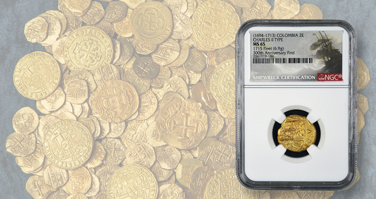 Image above: Nearly 300 gold coins discovered nearly 300 years after the famous 1715 Plate Fleet shipwreck are now coming to the market. (Images courtesy of Numismatic Guaranty Corp., and 1715 Fleet-Queens Jewels, LLC.)