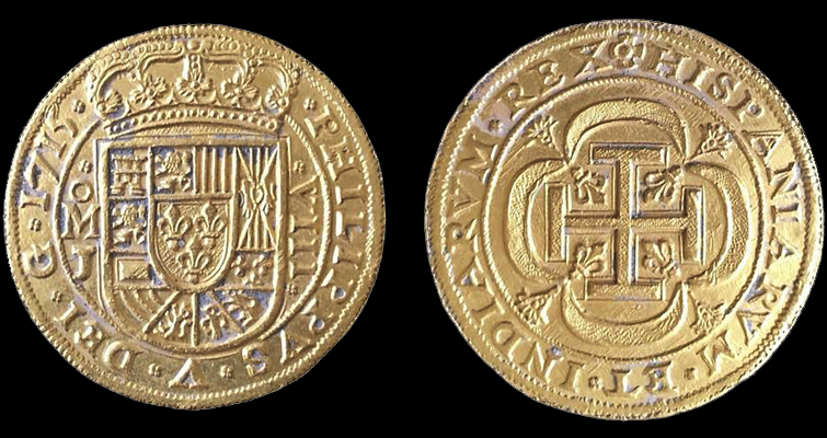 The 1715 Plate Fleet has yielded nine of these special presentation Royal gold coins, including this one dated the year of the wreck. (Image courtesy of 1715 Fleet-Queens Jewels LLC.)