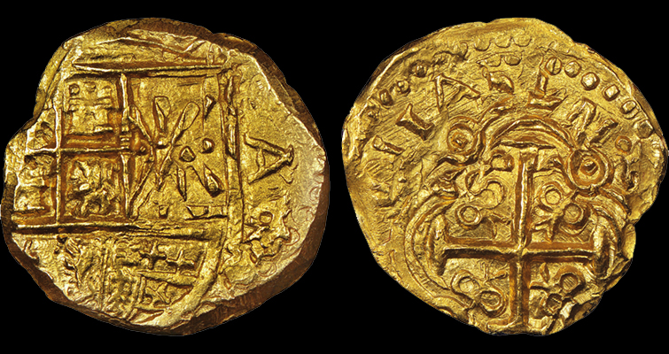 NGC has created special insert labels for the 1715 Plate Fleet coins recovered on the 300th anniversary, such as this Charles II type (1694 to 1713) gold 2-escudo coin struck in Colombia, graded NGC Mint State 65. (Images courtesy of Numismatic Guaranty Corp.)