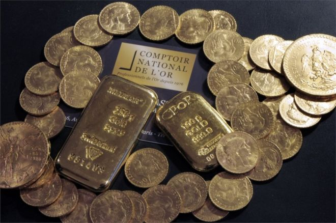 Image above: A file picture of gold. The hoard discovered by the heir came in at 100kg. (Image Courtesy of AFP/GETTY)