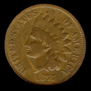 1877 American Indian Head Penny Coin